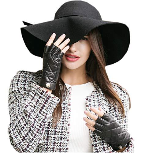 YISEVEN Guanti in pelle di agnello senza dita donna Sottili mezze dita sfoderate per guida motocicli Protezione da lavoro invernale con qualità Prime, nero XXXL