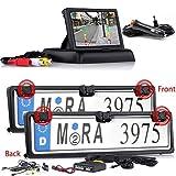 Autokennzeichen Rückfahrkamera mit Einparkhilfe für Vorne und Hintern + FARB Flip Monitor für KFZ Auto Transporter, Van, Wohnmobile & Bus Car Camera Kamera