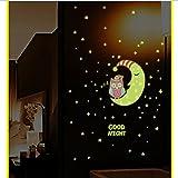 Wandsticker fluoreszierende Sterne Sticker, Pingenaneer Leuchtsticker Eule Wandaufkleber Hausdekoration Fluoreszierend und im Dunkeln leuchtend für Schlafzimmer Wohnzimmer Kinderzimmer