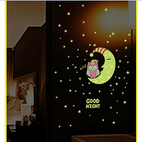 Pastell-magnolia (Wandsticker fluoreszierende Sterne Sticker, Pingenaneer Leuchtsticker Eule Wandaufkleber Hausdekoration Fluoreszierend und im Dunkeln leuchtend für Schlafzimmer Wohnzimmer Kinderzimmer)