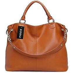 Tibes bolso cuero genuino bolso de hombro bolso señoras marrón