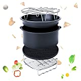 Espeedy 5-Set Air Fryer Zubehör für Gowise Phillips Cozyna Fit 3.7-5.8QT Kuchen Barrel Pan Rack Mat Kit (6 Inch)