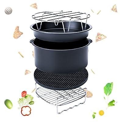 Espeedy 5 Set Air Fryer Zubehr Fr Gowise Phillips Cozyna Fit 37 58qt Kuchen Barrel Pan Rack Mat Kit