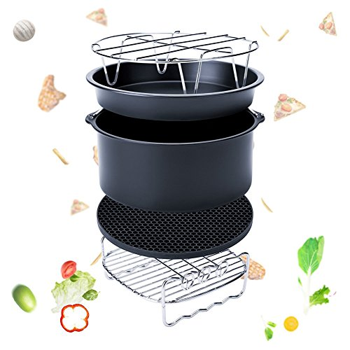 Espeedy 5 Set Air Fryer Zubehr Fr Gowise Phillips Cozyna Fit 37 58qt Kuchen Barrel Pan Rack Mat Kit