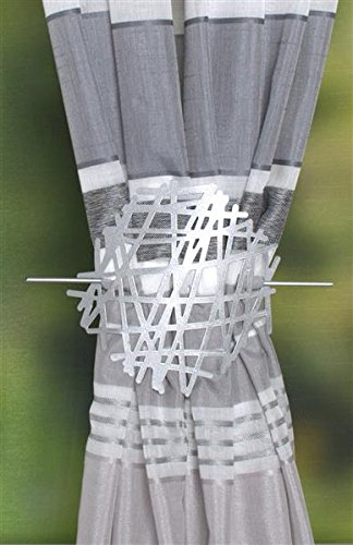 Home Fashion Raffhalter AUS Metall - ABSTRAKT, Silber, 18 x 2 cm, 2-Einheiten