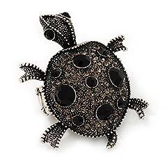 Idea Regalo - Colore: Nero, trasparente, flessibile, durata: tartaruga Anello In metallo color argento, lunghezza 5,5 cm, misura 7/9)