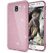 Samsung Galaxy J7 2017 (EU-Model) Purpurina Funda de NICA, Carcasa Protectora Movil TPU Silicona Fina Glitter Gel Bumper, Lentejuela Cubierta Delgado Cover Case para Samsung J7 2017, Color:Pink Rosa
