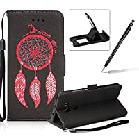 Leather Case for Huawei Mate 8,Strap Flip Wallet Cover for Huawei Mate 8,Herzzer Luxury Stylish Shining Bling Glitter Dreamcatcher Design Black PU Leather Stand Card Holder and ID Slot Money Pouch Magnetic Clasp Slim Flip Protective Skin Case Cover for Hu