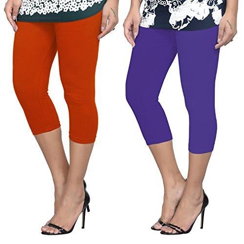 Livener Women's Cotton Lycra Capris Combo - Orange & Purple Colors