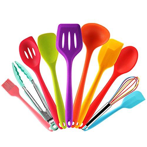 Set utensilios cocina silicona colores Espátula,Cuchara,Cucharon,Espumadera,Batidor