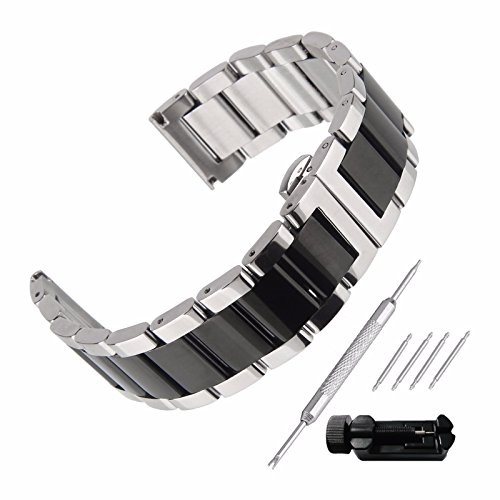 Beauty7 Stainless Steel Watchband Silver and Black Buckle Two Tone Strap with Tools Double Replacement Lock Clamps 16mm 18mm 20mm 21mm 22mm 23mm 24mm
