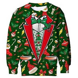 Goodstoworld 3D Sudadera Unisexo Niño Niña Navidad Divertida impresión Camiseta Jerseys Transpirable Mangas Largas Pullover Sweatshirt 6-16 años