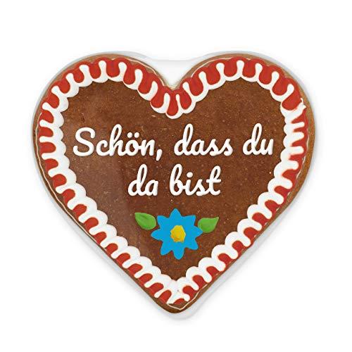 Lebkuchenherz mit beschriftetem Aufkleber 12cm - Schön, dass du da bist | Lebkuchen-Herz Geschenk | Willkommensgeschenke für Event | Lebkuchenherzen günstig kaufen von LEBKUCHEN WELT