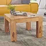 FineBuy Massiver Couchtisch PATAN 60 x 60 x 40 cm Akazie Holz Massiv | Wohnzimmertisch Quadratisch Braun | Beistelltisch Massivholz | Design Holztisch Wohnzimmer
