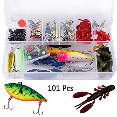 101Pcs Fishing Lures Kits Spinners Plugs Minnow Spoons Artificial Hard Soft Bait Pike Trout Salmon Shrimp Jig Hook Set with Box by Librao