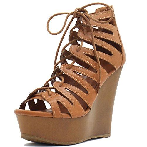 Allegra K Damen Zum Schnüren Ausschnitt Keilabsatz Sandalen - Damen, Schwarz, 40