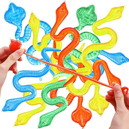 Blulu 24 Stück Dehnbar Schlangen Bunt Dehnbar Tier Mini Schlangen Spielzeug für Party Tasche Füllstoffe und Geschen Ideen (Geeignet für die Kinder über 14)