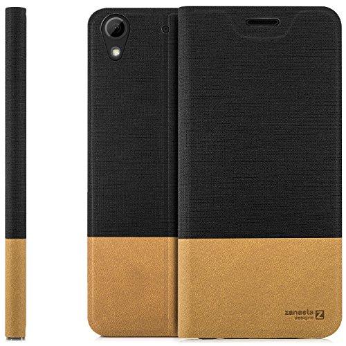 zanasta Designs Tasche HTC Desire 628 Dual Sim Hülle Flip Case Slim Schutzhülle Handytasche mit Kartenfach, Standfunktion | Schwarz