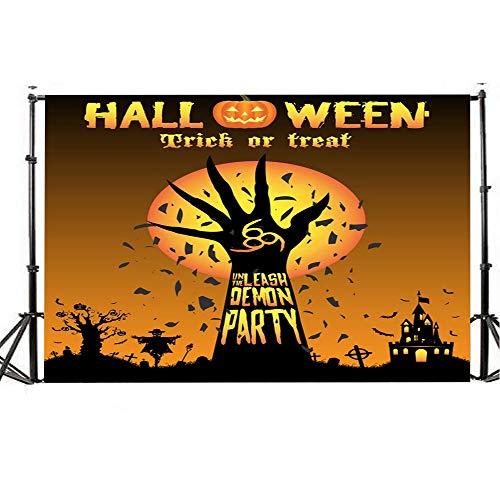 Wawer Halloween Fotografie Hintergrund 150 x 90cm, 5x3FT Fotografie Hintergrund Halloween Laterne Muster Hintergrund Fotografie für Halloween Kulissen (H) (Kulissen Halloween Fotografie)