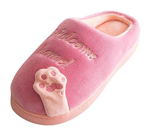 Minetom Hiver Unisexe Doux Chaud En Peluche Maison Pantoufles De Bande Dessinée Patte Patte Anti-slip Chaussures Femmes Hommes Chaussures Pantoufles D- Rose