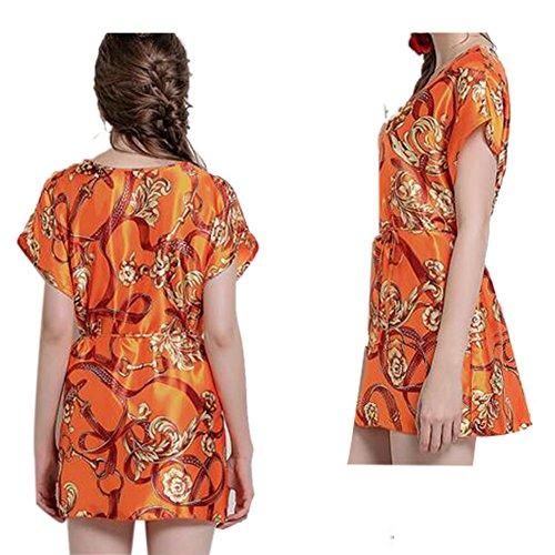 Summer Lady Silk Sexy LooseNightdress Sleepwear Orange