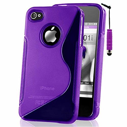 VComp-Shop® S-Line TPU Silikon Handy Schutzhülle für Apple iPhone 4/ 4S/ 4G + Großer Eingabestift - TRANSPARENT VIOLETT + Mini Eingabestift