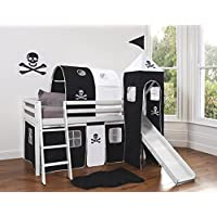 Noa and Nani - Midsleeper Cabin Bed with Slide and Pirate Tent, Tunnel and Tower - (White)
