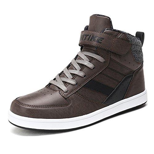 VITIKE Klassische Teenager Unisex Erwachsene Hight Top Schnürverschlüsse Sneaker Stiefeletten Unisex Stiefel (EU39, Grau)