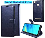 Fengshui Vintage Flip Cover Leather Case : Inner TPU, Leather Wallet Stand for Mi Redmi 3s Prime - Attractive Navy Blue