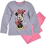 Minnie Mouse Schlafanzug Mädchen Pyjama Disney (Grau-Rosa, 110-116)