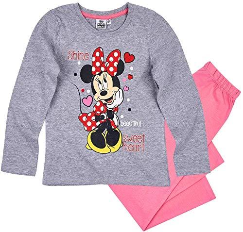 (Minnie Mouse Schlafanzug Mädchen Pyjama Disney (Grau-Rosa, 110-116))