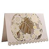 20Stk Hochzeit Einladungskarten Hochzeitseinladung Einladung Karten vintage Glückwunsch Brautpaar Grusskarte Geburtstag Verlobung Party weiß Champagnerfarbe (Karte + Blanko Papier + Umschlag) set LONGBLE (Champagnerfarbe)