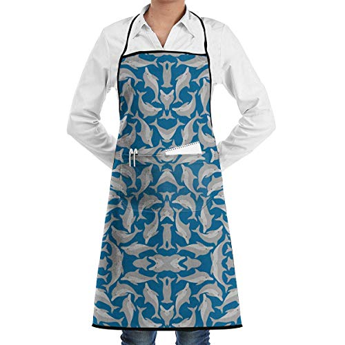 Drempad Tablier De Cuisine, Blue Sea Dolphins Adjustable Bib Apron with Pockets - Commercial Restaurant and Home Kitchen Apron - Neck Strap- Extra Long Ties - Strong Black