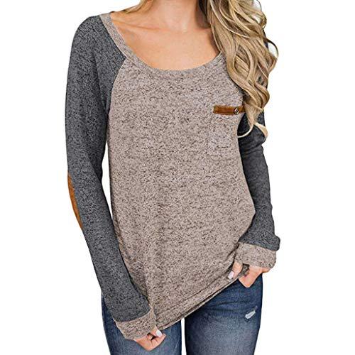 GreatestPAK Pullover Damen Stitching Pocket Langarm T Shirt Top -