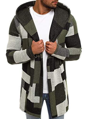 OZONEE Herren Pullover Lange Strickjacke Kapuzenpullover Strickpullover Arbeitspullover Sweater Sweatshirt 3501 L GRÜN