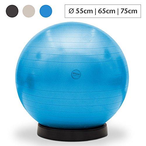aktivshop Gymnastikball inkl. Ballschale Fitnessball Sitzball Fitness Ball Yogaball Sportball Anti-Burst Gymnastikball Büroball 65 cm Blau