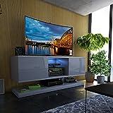 Selsey Wizz - Meuble TV Moderne Gris avec LED, 140 cm