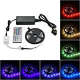 Tomshine strip lights kit,Led 5M 150 LEDs Tape Light, Waterproof Flexible Color Changing Rope lihgts with IR 44 Keys Controller for Home Decoration Coffee House Show Window Light Box