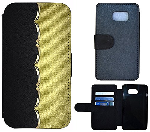 Coque Flip Cover Housse Etui Case Pour, Tissu, 1260 Bär Braun, Apple iPhone 6 / 6s 1268 Abstract Schwarz Goldfarben