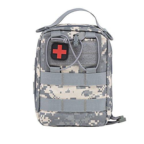 51mzfxk5Z L - Botiquín de primeros auxilios EMT Bolsa táctica compacta MOLLE Botiquín médico 1000D para viajes en el lugar de trabajo al aire libre en el hogar (gris)