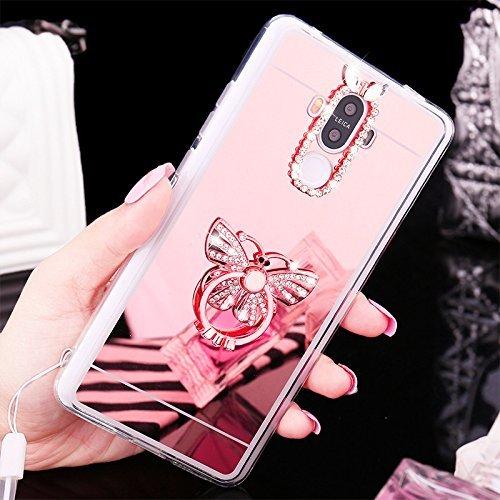 Huawei P9 Coque,Huawei P9 Housse Diamant,ETSUE Mode Luxe Miroir Bling Glitter Huawei P9 Silicone Coque Luxueux Crystal Scintiller Doux Coque Bague, Huawei P9 Etui Coque Rose Romantique Élégant Fleur C Papillon Or Rose
