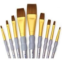 Royal and Langnickel RCC 310 - Set da 9 pennelli a punta piatta con setole in taklon, colore: Marrone