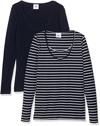 Mamalicious Mllea Organic Nell Y/D L/S Top Nf 2pack, T-Shirt de Maternité Femme Bleu (Navy Blazer)