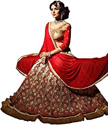 Styles Closet Semi Stitched Net Embroidered Lehenga Choli for Woman