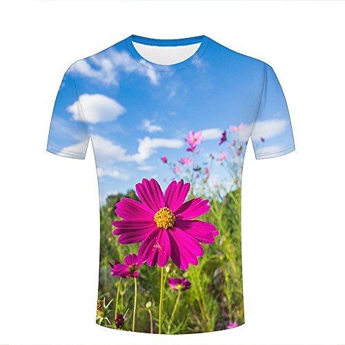 ouzhouxijia Mens 3D Printed T-Shirts Sunshine Shines Pink Cosmos Graphics Couple Tees B