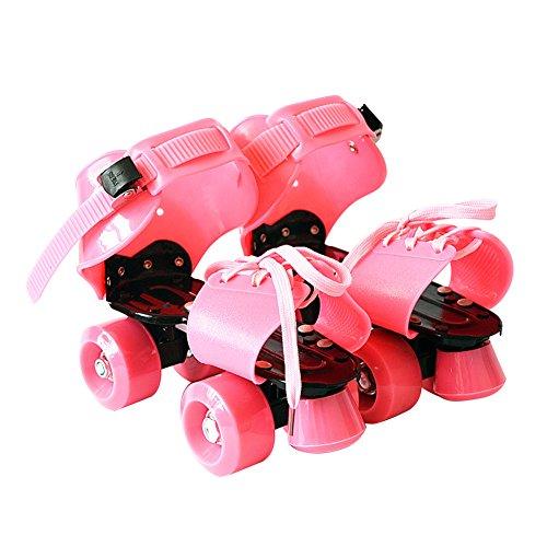 SWAMPLAND Größenverstellbar Rollschuhe mit 4 Rollen zum Trainieren 19 - 25 cm,Unisex,Pink