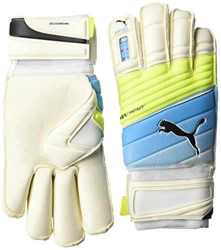 PUMA Torwarthandschuhe Evopower Protect 2.3 GC, White/Atomic Blue/Safety Yellow, 9, 041218 01