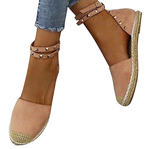 Pxmoda Damen Espadrilles Binden Flache Sandalen Peep Toe Klassische Espadrille Schuhe (37, Rosa)