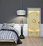 WeltDerBilder Türposter selbstklebend - goldenes Mandala - (91 x 211cm) Türaufkleber Türtapete - 10 Motive zur Auswahl