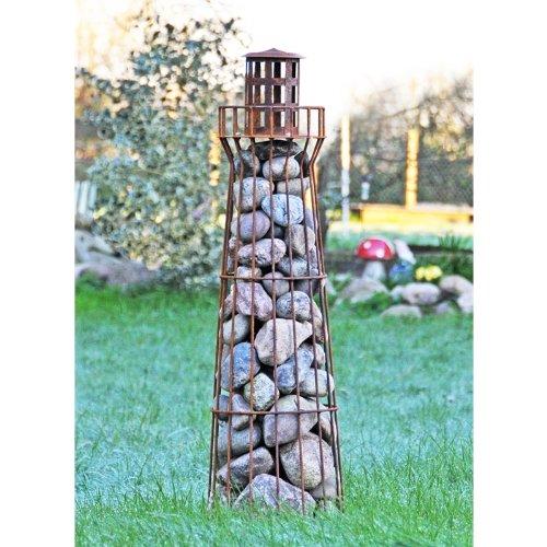 Edelrost-Leuchtturm Föhr – Gabione – Steinkorb- Steindeko – Teichdeko – Gartendeko